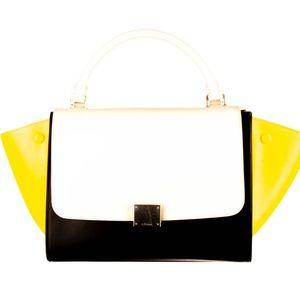 CELINE Tricolor Calfskin Leather Trapeze Bag